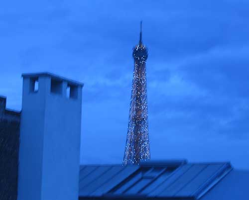 Eiffel Tower at night from hotel window