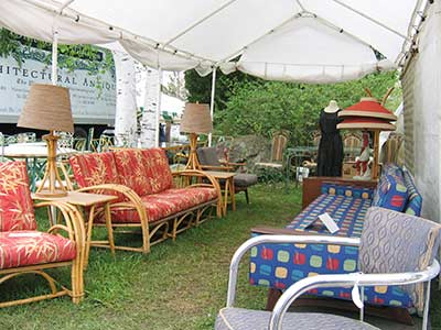 Brimfield antique booth - rattan furniture