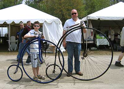 Brimfield - vintage and new high wheel bicycles