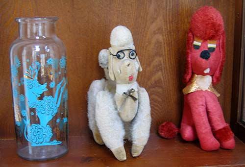 poodle vase, stuffed poodles