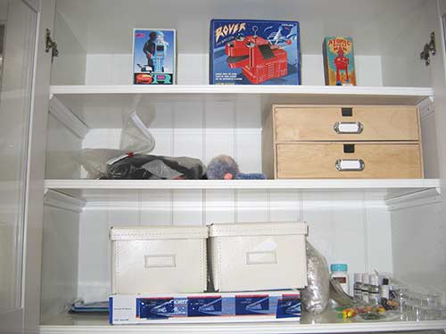 Ikea shelf boxes, wooden drawers, robot boxes