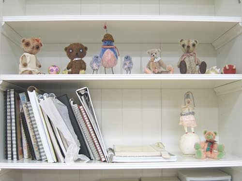 Ikea shelf teddies sketchbooks