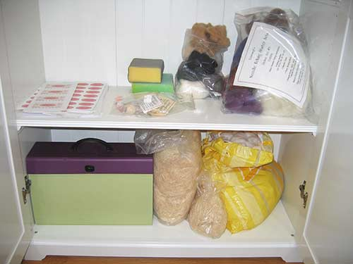 cabinet shelf needlefelting supplies, patterns