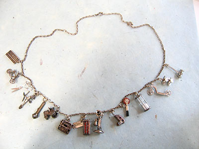 sterling necklace with vintage charms and chain