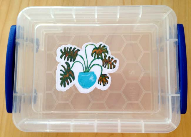 laminated sticker on plastic box showing water seepage around edges of sticker after hand washing with running water and liquid soap