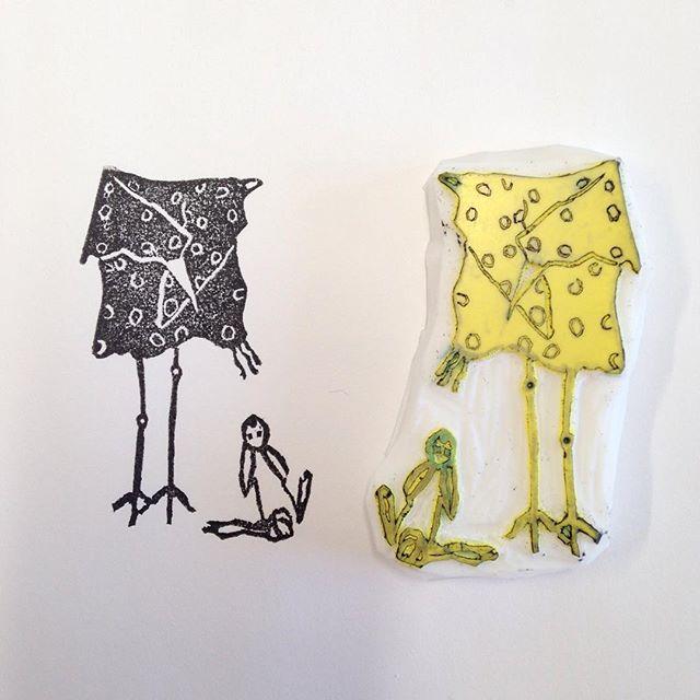Square bird with rabbit block print, test print. Poodle with Doll -test print.  #linocut #linoprint #testprint #printmakersofinstagram #lino #blockprint #stamping #cutebird #cuterabbit #ellifolks