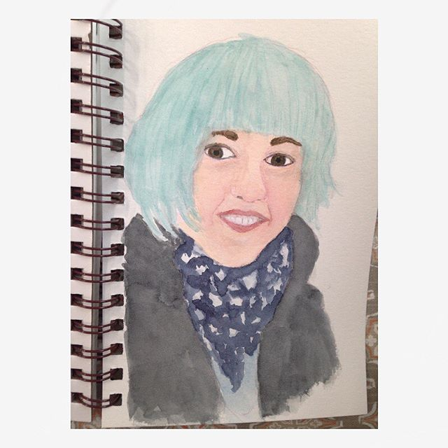 Watercolor of daughter in sketchbook. #watercolorportraits #sketchbook #sketchbookpainting