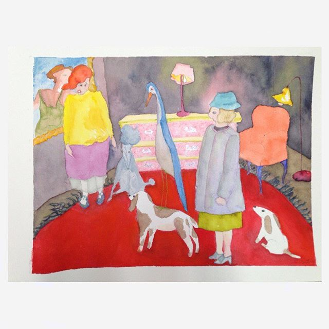 Women Conversing with Dogs and Bird watercolor - Daniel Smith watercolors on Arches cold press some Finetec silver metallic watercolor #watercolor #mixedmediaonpaper #colorpencil #dogs #bird #women #paintersofinstagram #watercolorpaintersofinstagram #fantasyart #ellifolks