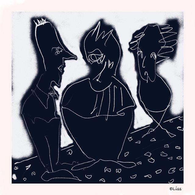 Three Men - Digital drawing using Procreate app. #digitaldrawing #blackandwhite_art #ellifolks