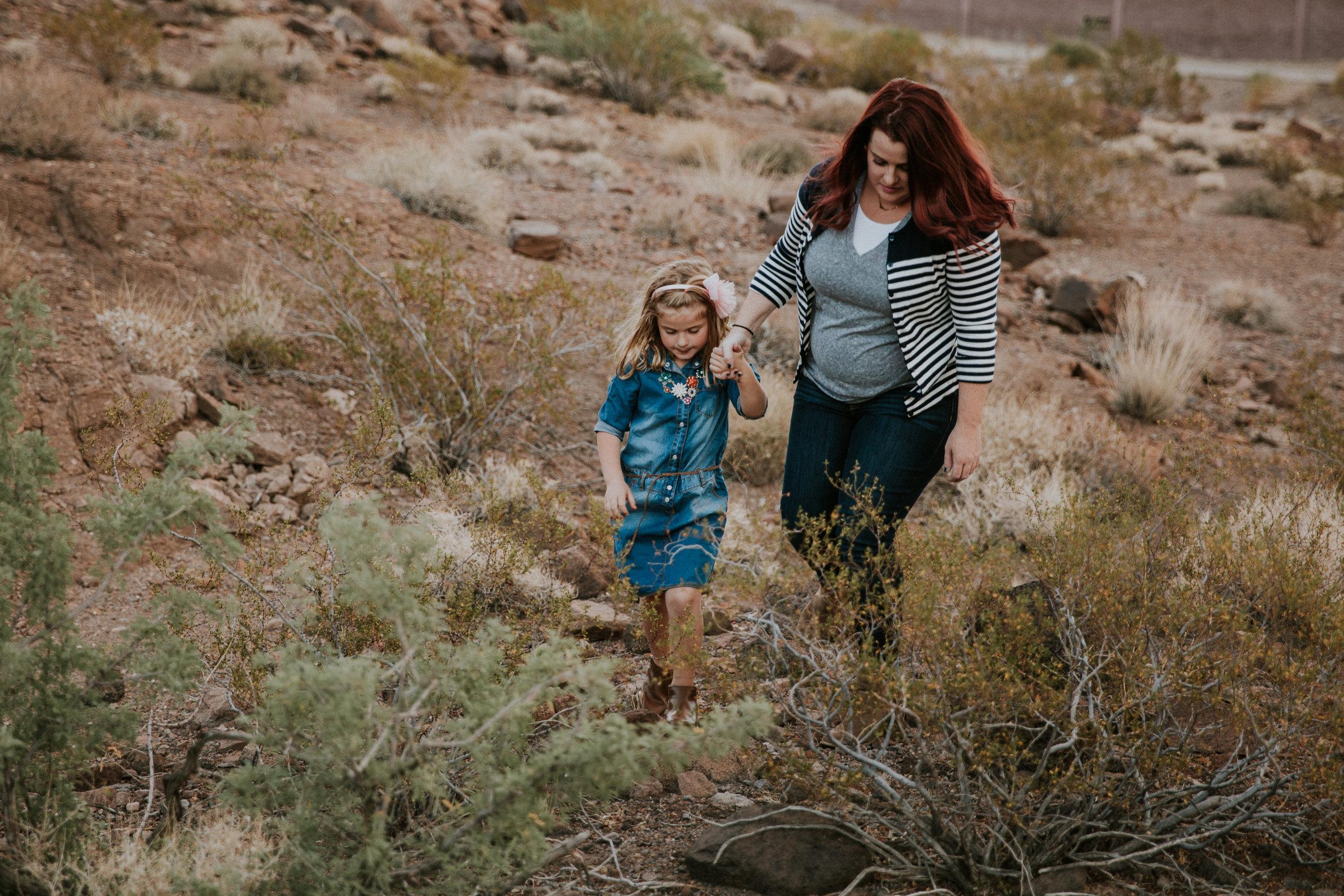 Lifestyle Family Photography - Las Vegas Photographer - Desert Landscape - Henderson, NV - Mother and Daughter