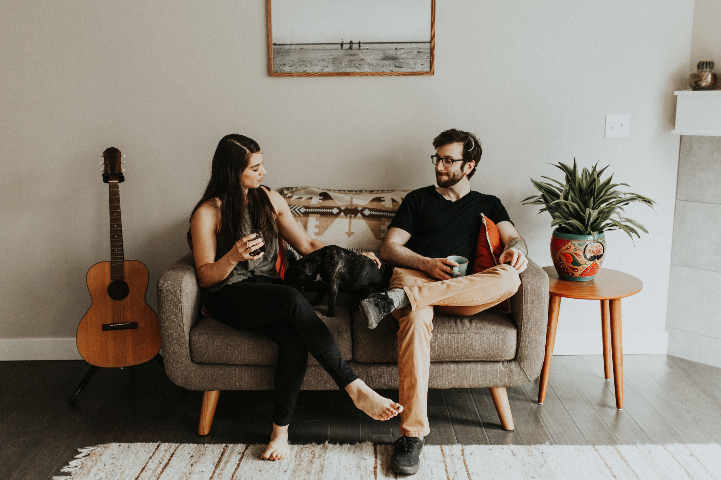 Seattle Wedding Photographer - Boho Vibes - Eclectic Home - Bohemian Decor - Simplistic Home - Minimalistic Style - In-Home Couple's Session - Intimate Day-After Session - Bellingham Couple's Photographer - Bellingham Wedding Photographer - PNW Photographer - In-Home Engagement Session