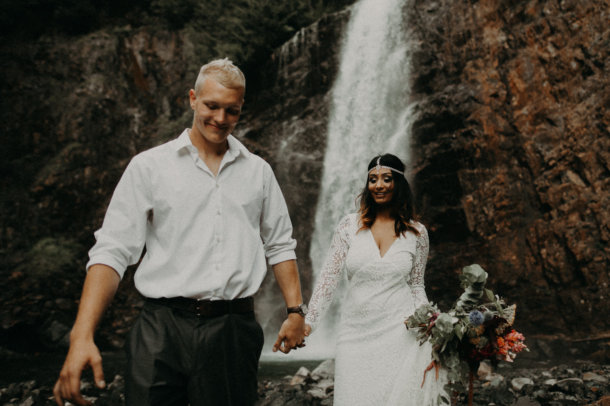 Kamra Fuller Photography - Seattle Wedding Photographer - Seattle Elopement Photographer - Port Angeles Wedding Photographer - Boho - Bohemian - Waterfall Elopement - PNW Wedding Photographer