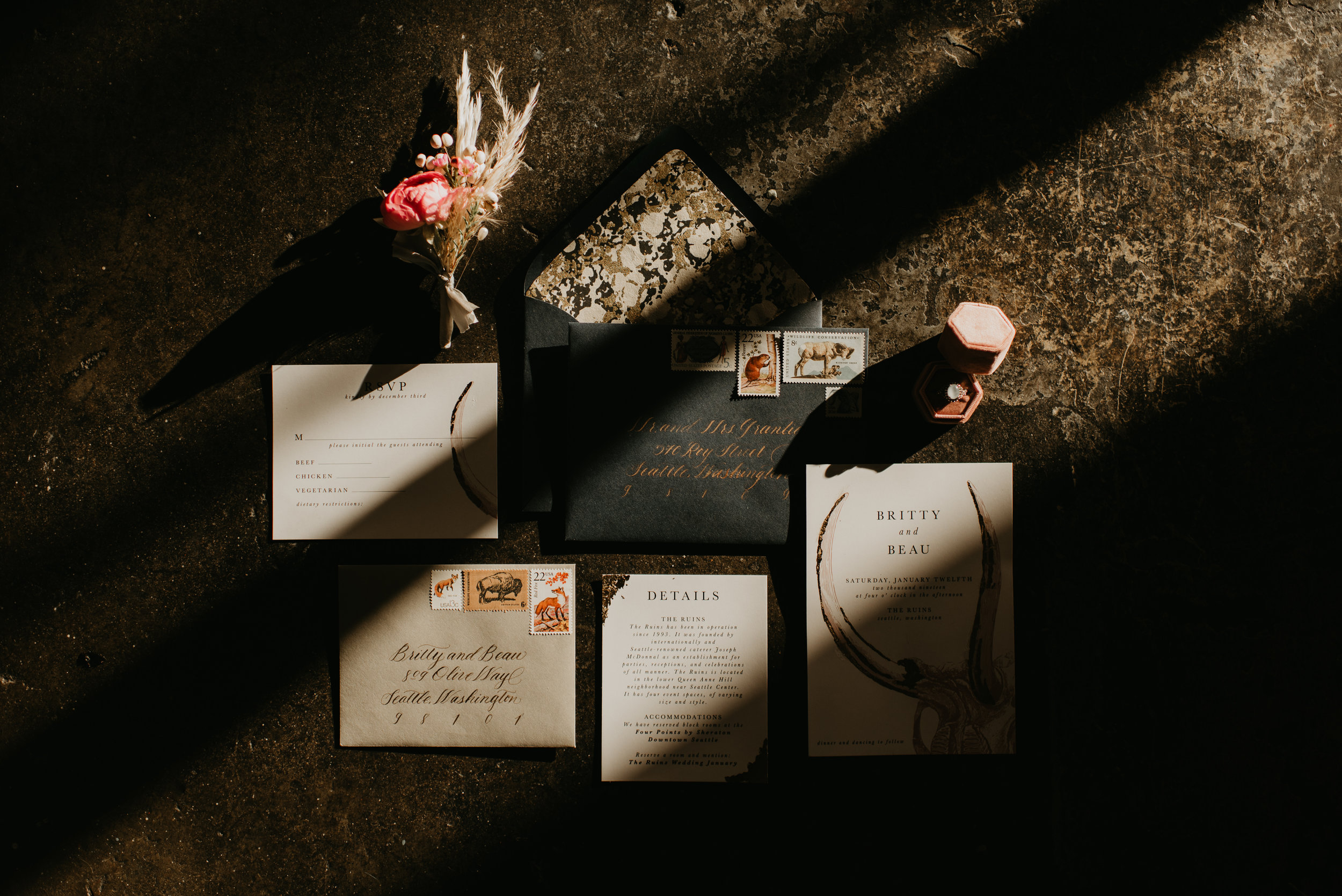 Moody Navy Blue Wedding Stationery - Beau + Britty - Dutch Carnival Styled Elopement Shoot at The Ruins, Seattle, WA - Seattle Elopement Photographer