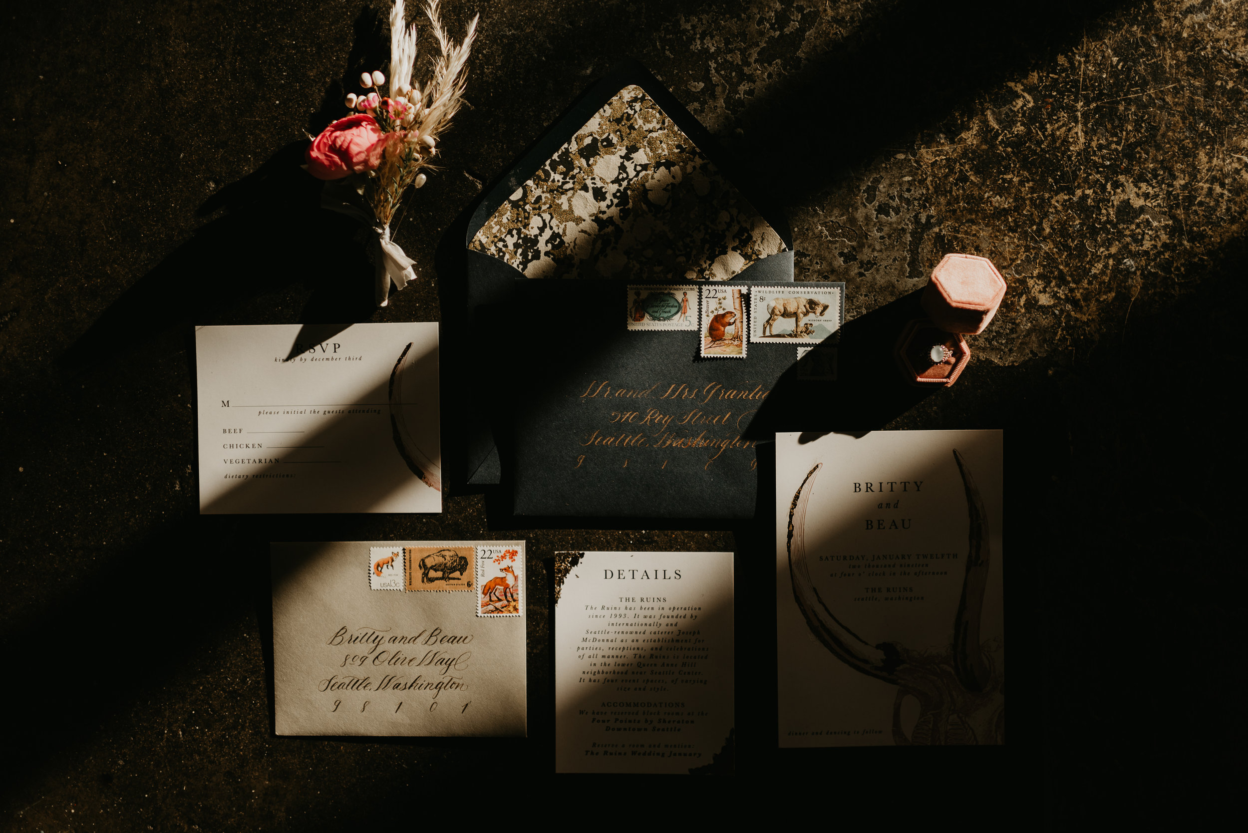 Wedding Stationery - Beau + Britty - Dutch Carnival Styled Elopement Shoot at The Ruins, Seattle, WA - Seattle Elopement Photographer