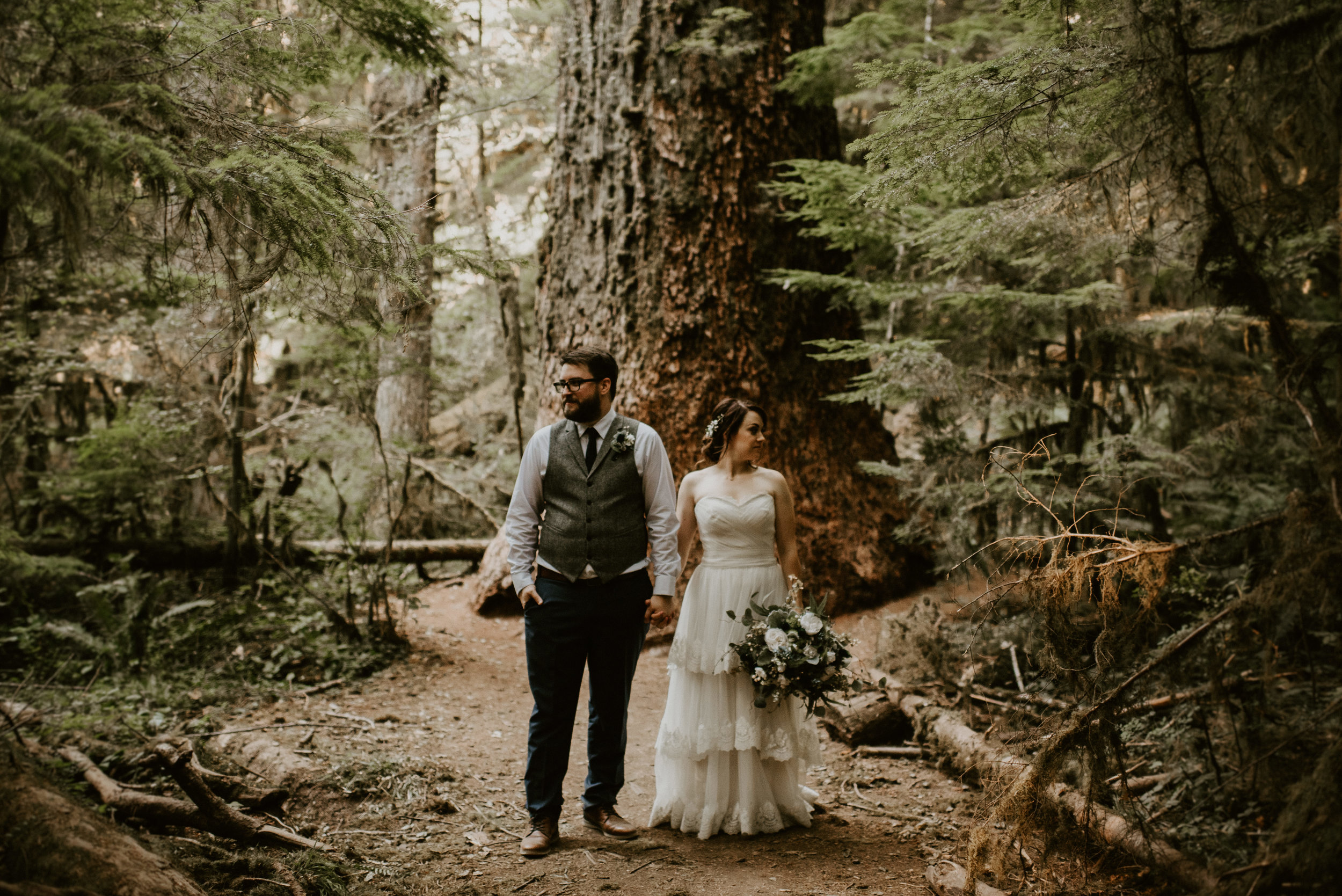 Chelsie + Matt's Marymere Falls Elopement at Olympic National Park by Kamra Fuller Photography