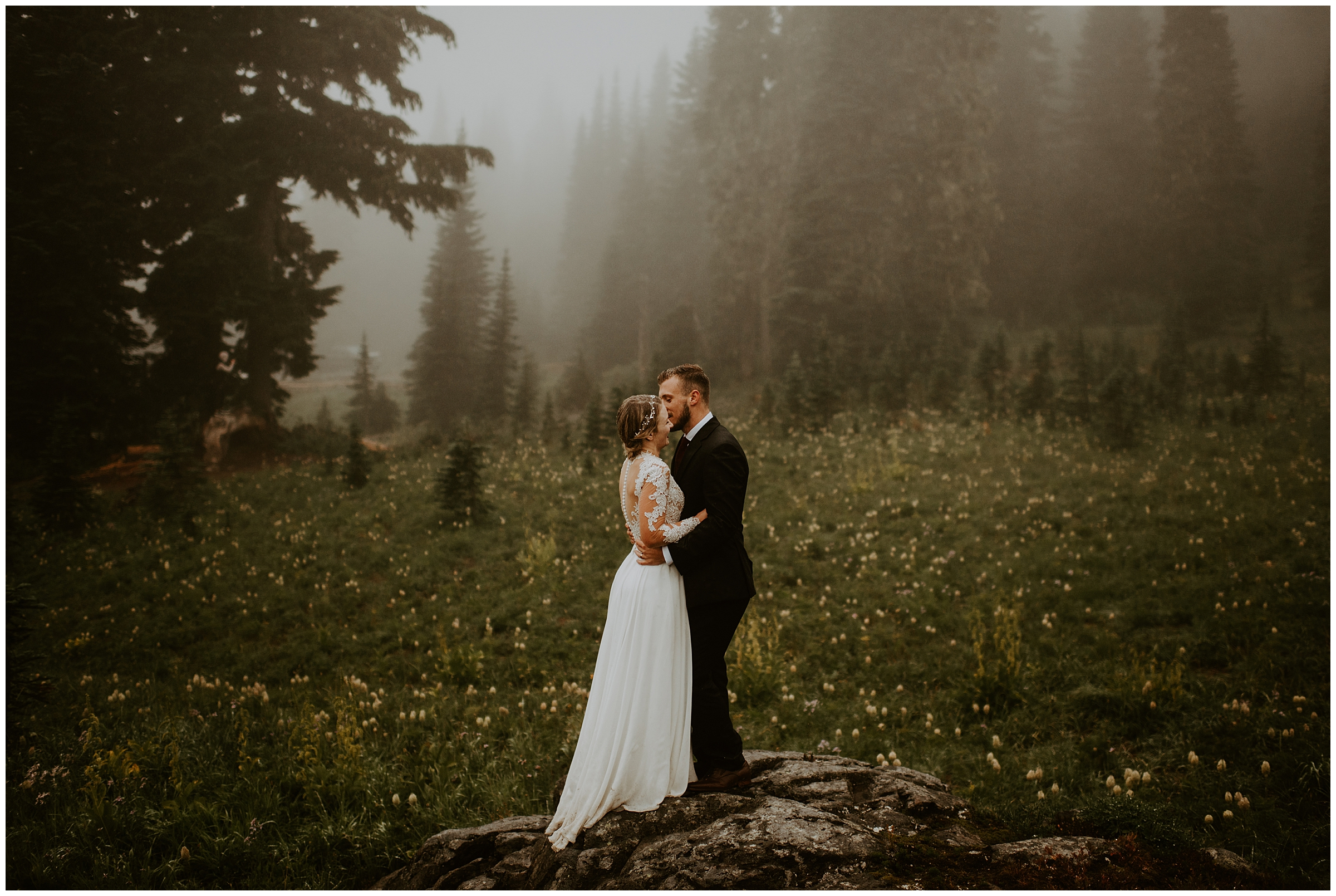 Cameo + Dawson's Foggy Mt. Rainier Wedding Portrait Session at Tipsoo Lake, WA by Seattle Elopement Photographer, Kamra Fuller Photography