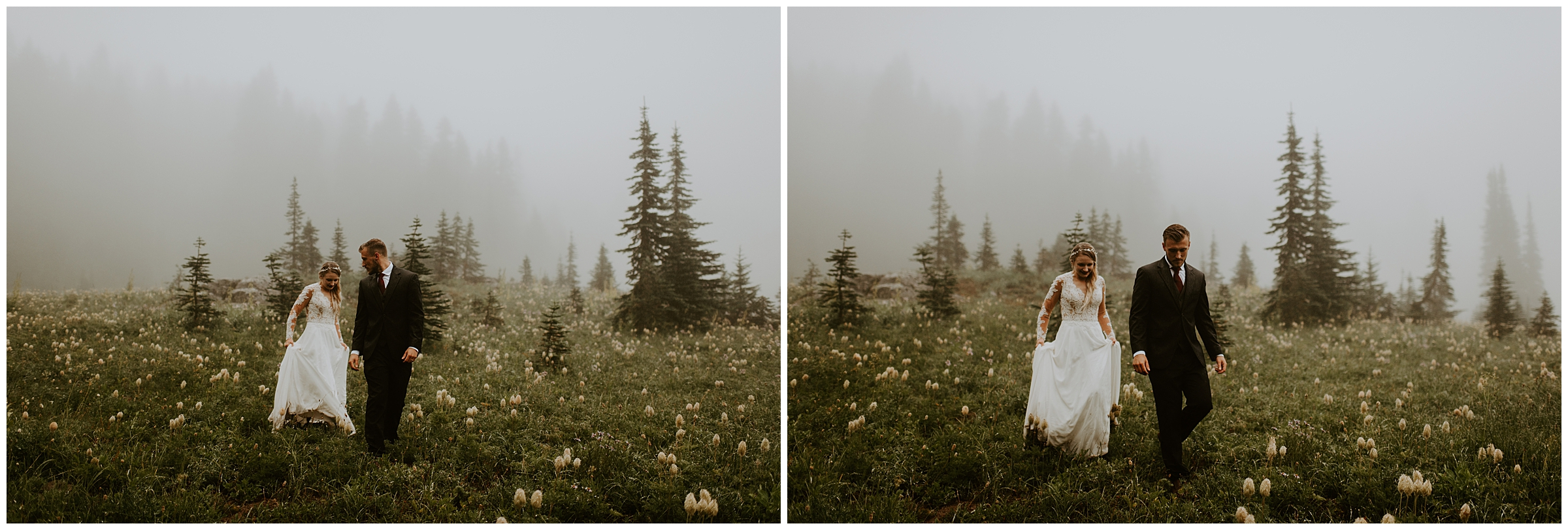 Cameo + Dawson's Foggy Mt. Rainier Wedding Portrait Session at Tipsoo Lake, WA by Seattle Elopement Photographer, Kamra Fuller Photography
