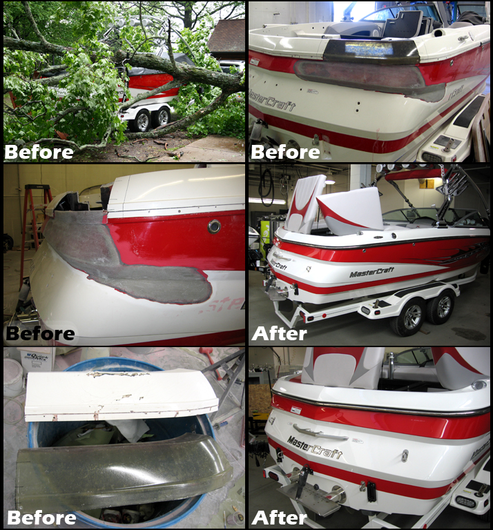 Midwest Water Sports offers complete fiberglass boat repair including gel coat, metal flake and structural damage.  Our in house fiberglass and gel coat repair center offers complete solutions for everything from minor nicks to major damage.   We are the area's only factory authorized body shop for MasterCraft, Supra, and Moomba Boats.  We also offer repair services for most makes and models.  From structural damage, to under water gear replacement and everything in between we have the resources to repair your boat quickly and correctly.  Conveniently located just outside Minneapolis, MN Midwest Water Sports is your #1 source for fiberglass boat repairs. Offering complete repair, quick and accurate quotes and we'll even consider buying your damaged boat. Your total boating satisfaction is our ultimate goal.
