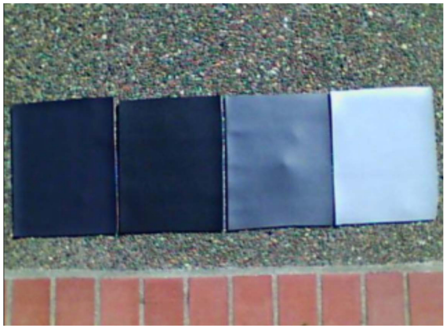 This image shows four colors of MasterCraft vinyl.  From left to right we have Cool Feel Black, Midnight Black, Genesis Meteor Gray, and Rayo Flint.