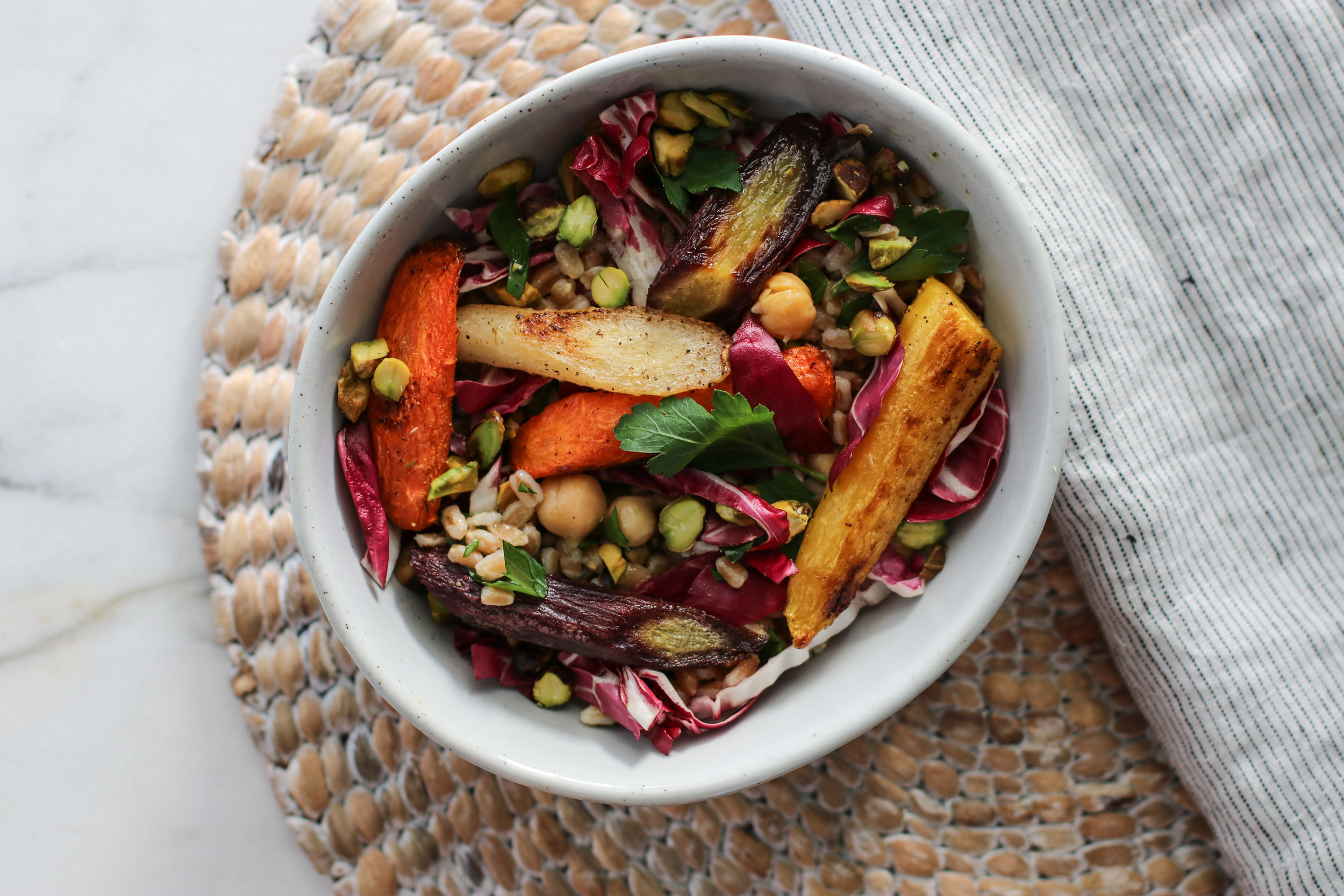 Roasted Carrot and Farro Salad with Chickpeas