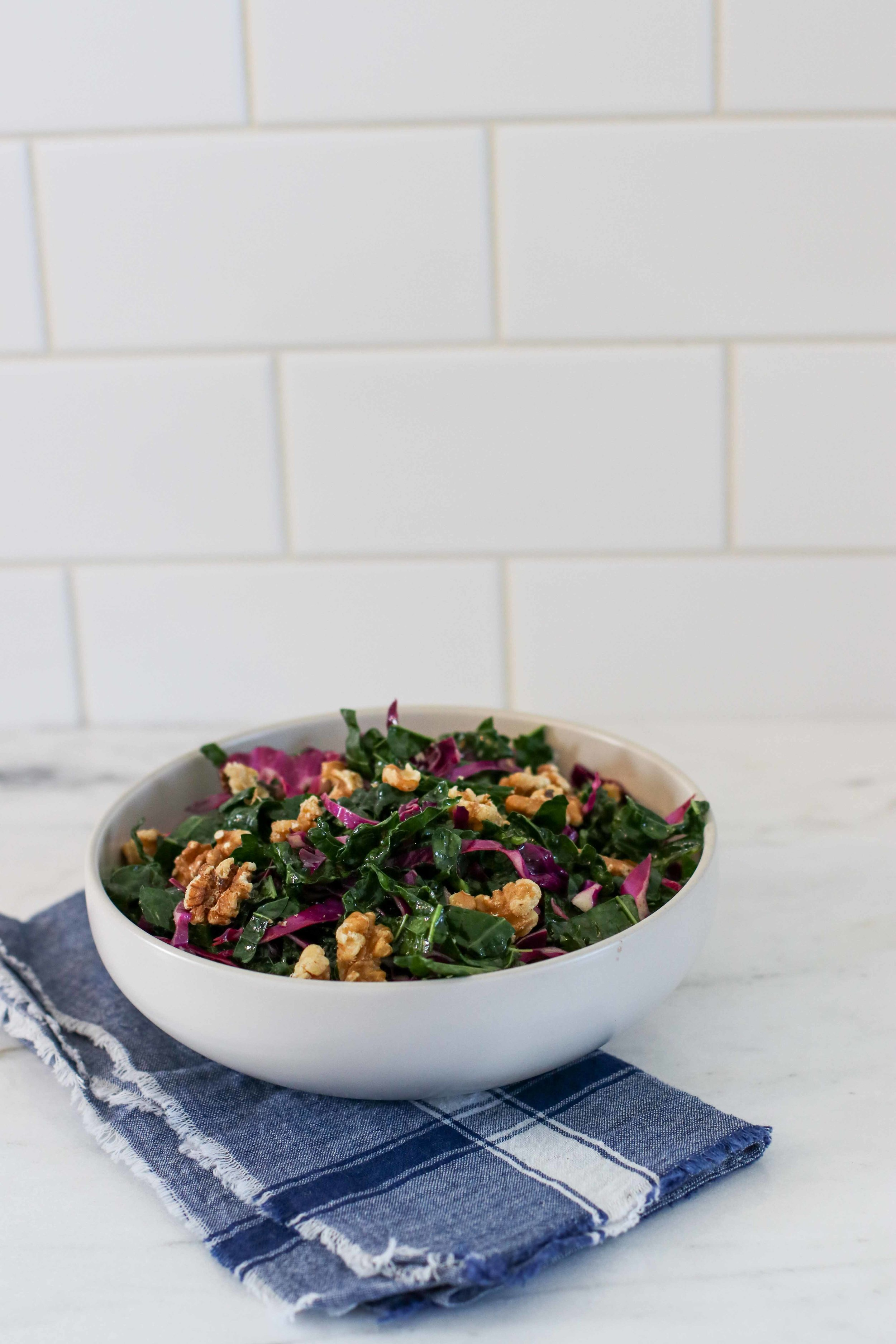 Kale and Cabbage Slaw with Mustardy Vinaigrette