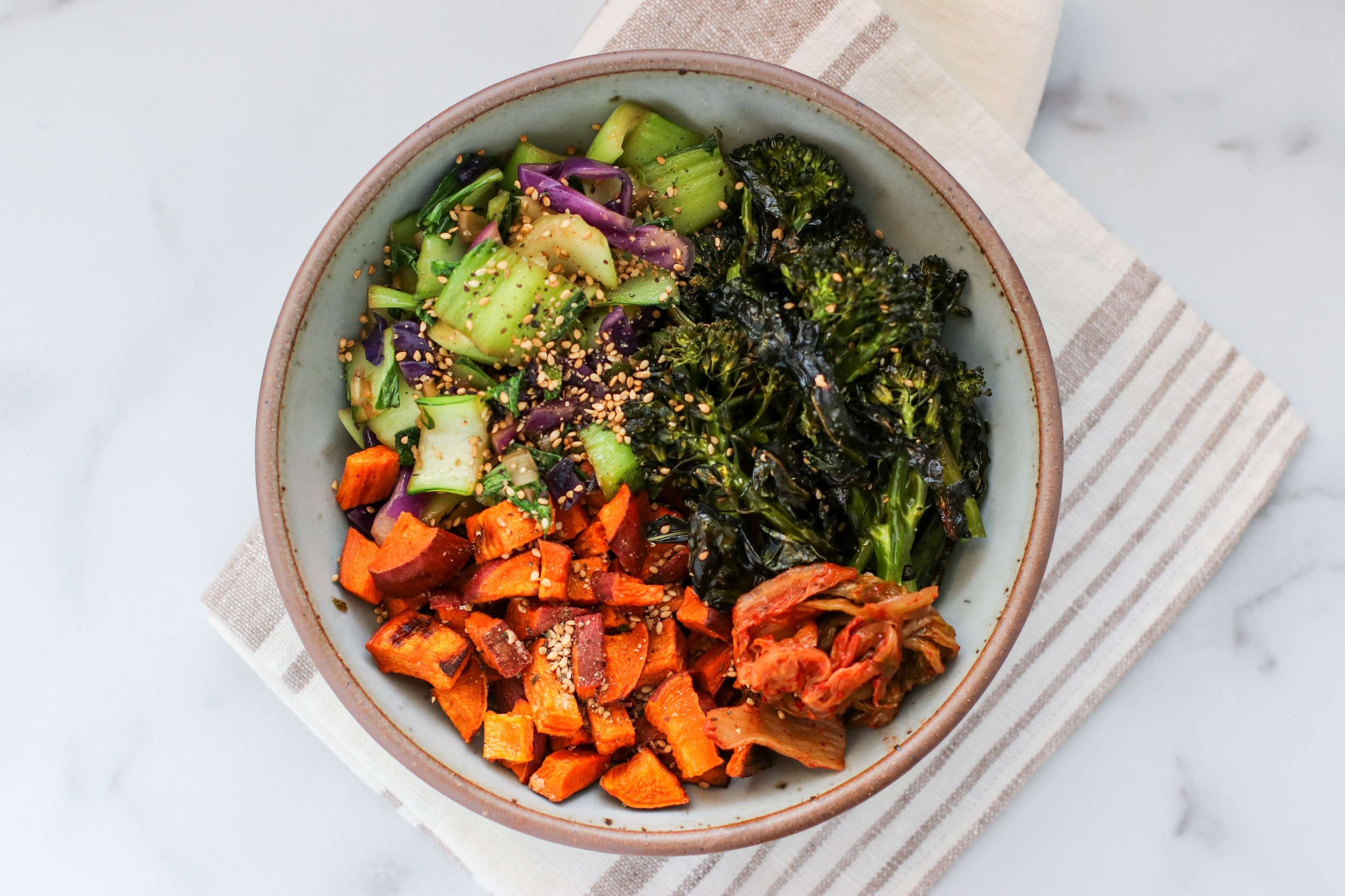Asian Bowl with Baby Bok Choy + Red Onion, Roasted Broccolini, Roasted Sweet Potato, and Kimchi