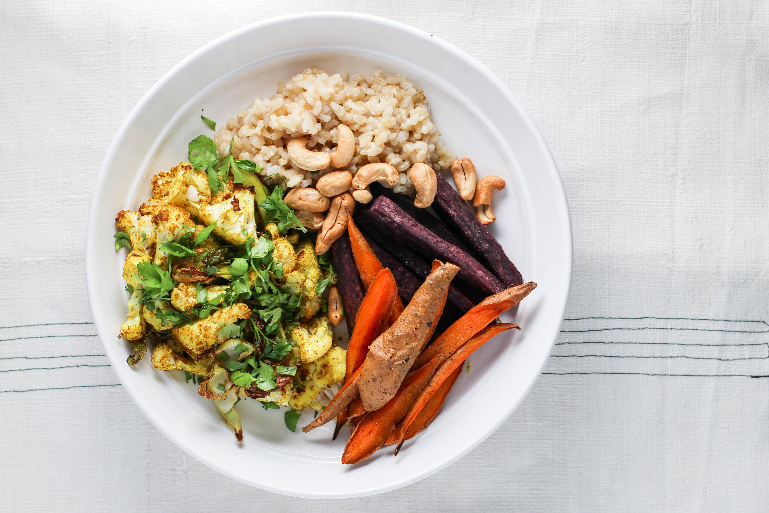 Coconut Rice, Roasted Sweet Potato Wedges, Roasted Turmeric Cauliflower, Cashews, Cilantro