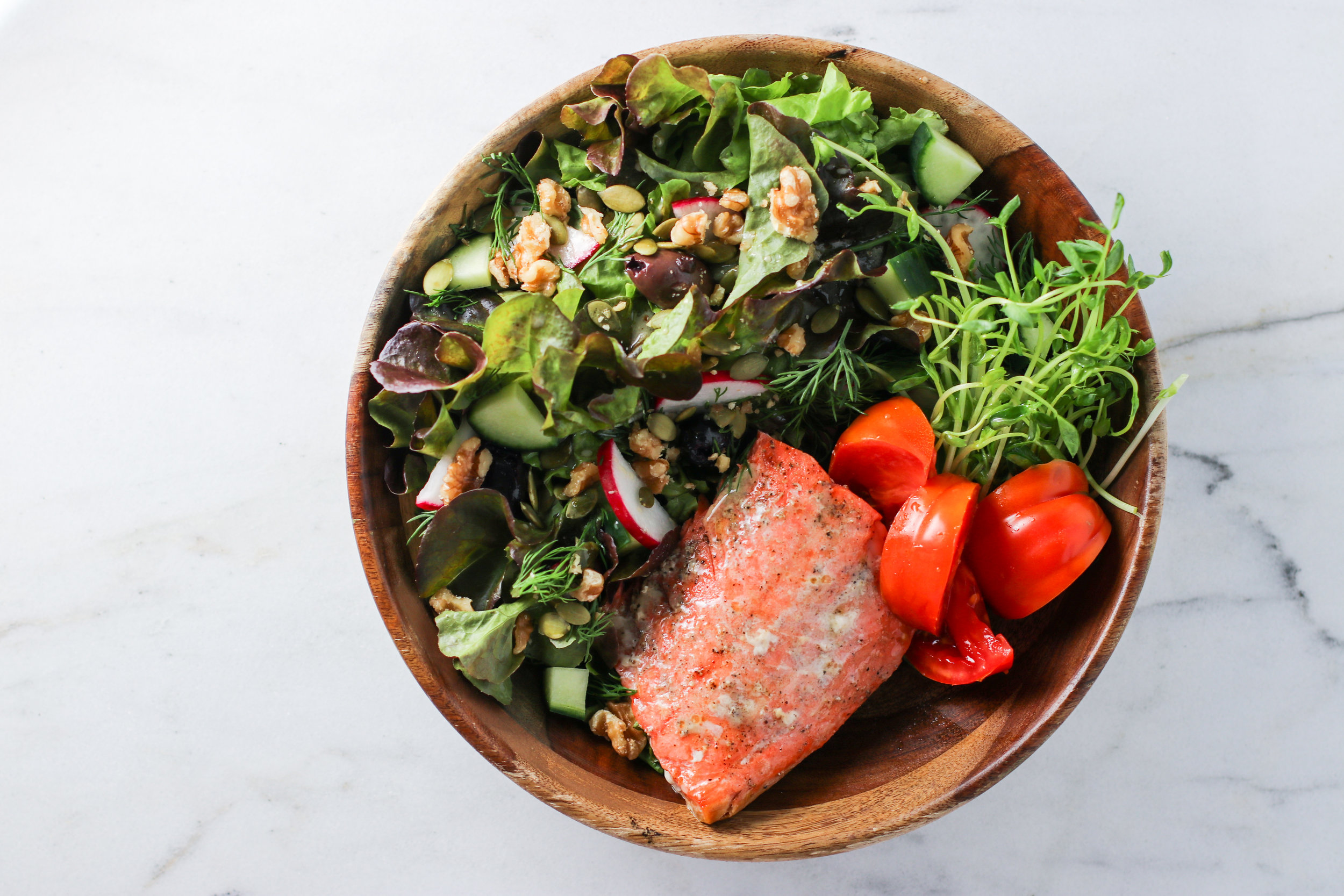 Giant Salad with Radish, Walnuts, and Dill + Simply Baked Wild Salmon and Heirloom Tomato