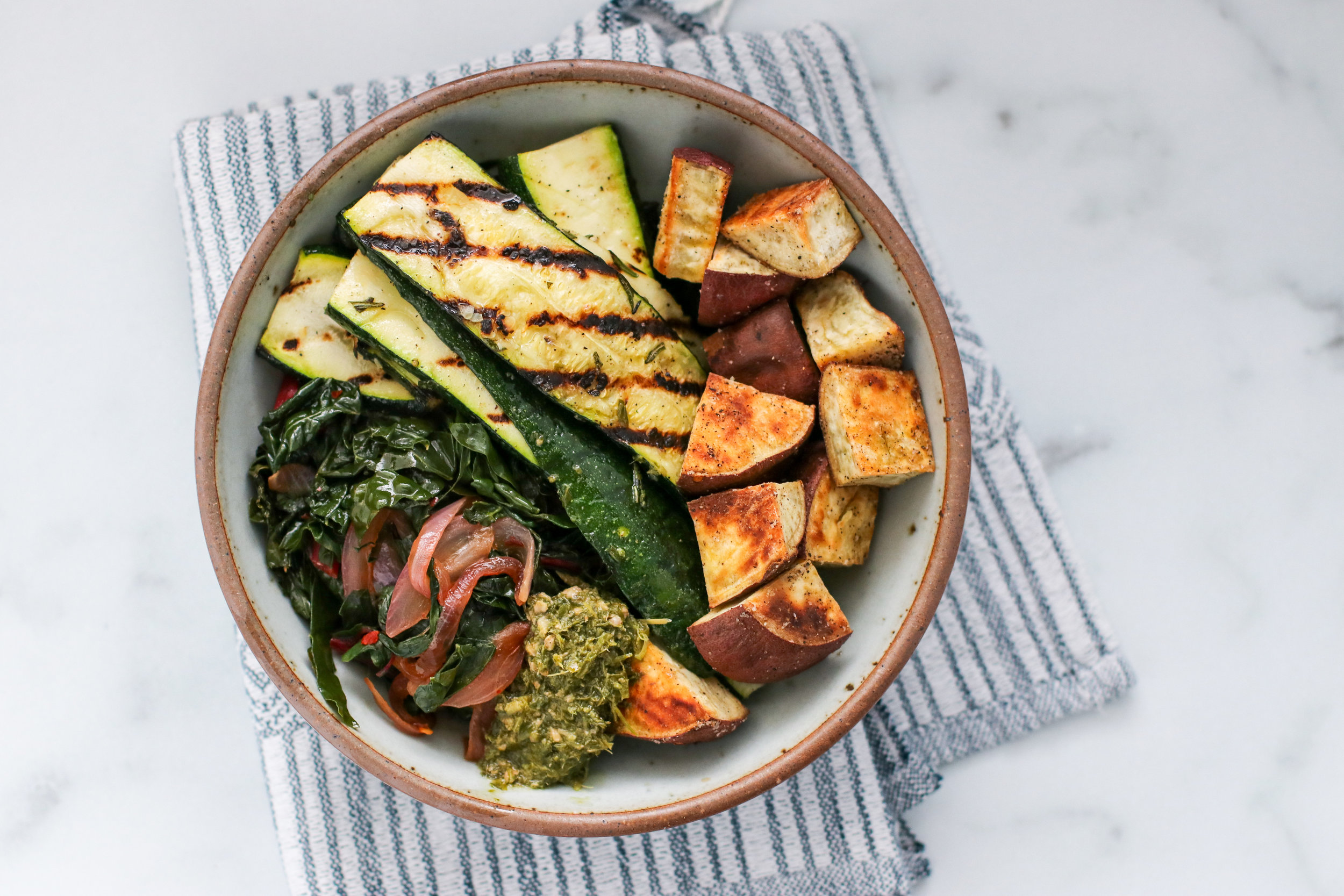 Sauteed Swiss Chard + Red Onions, Grilled Rosemary Zucchini, Roasted White Sweet Potatoes, Pest