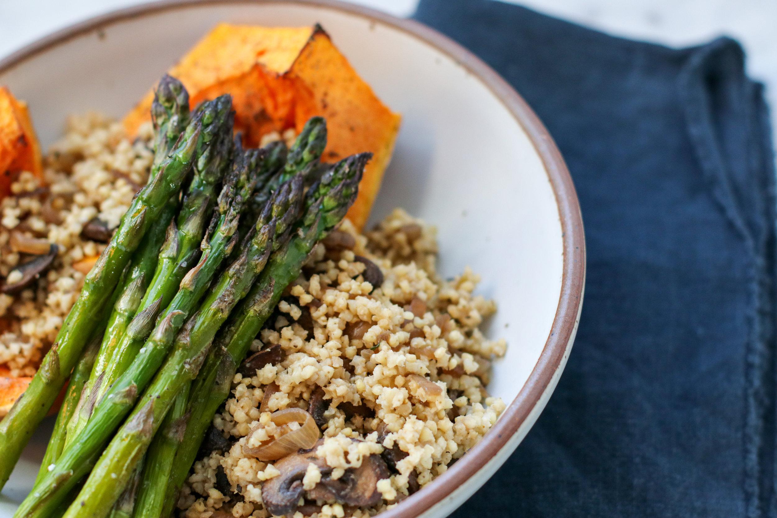 Millet Mushroom Pilaf + Roasted Asparagus + Kabocha Squash