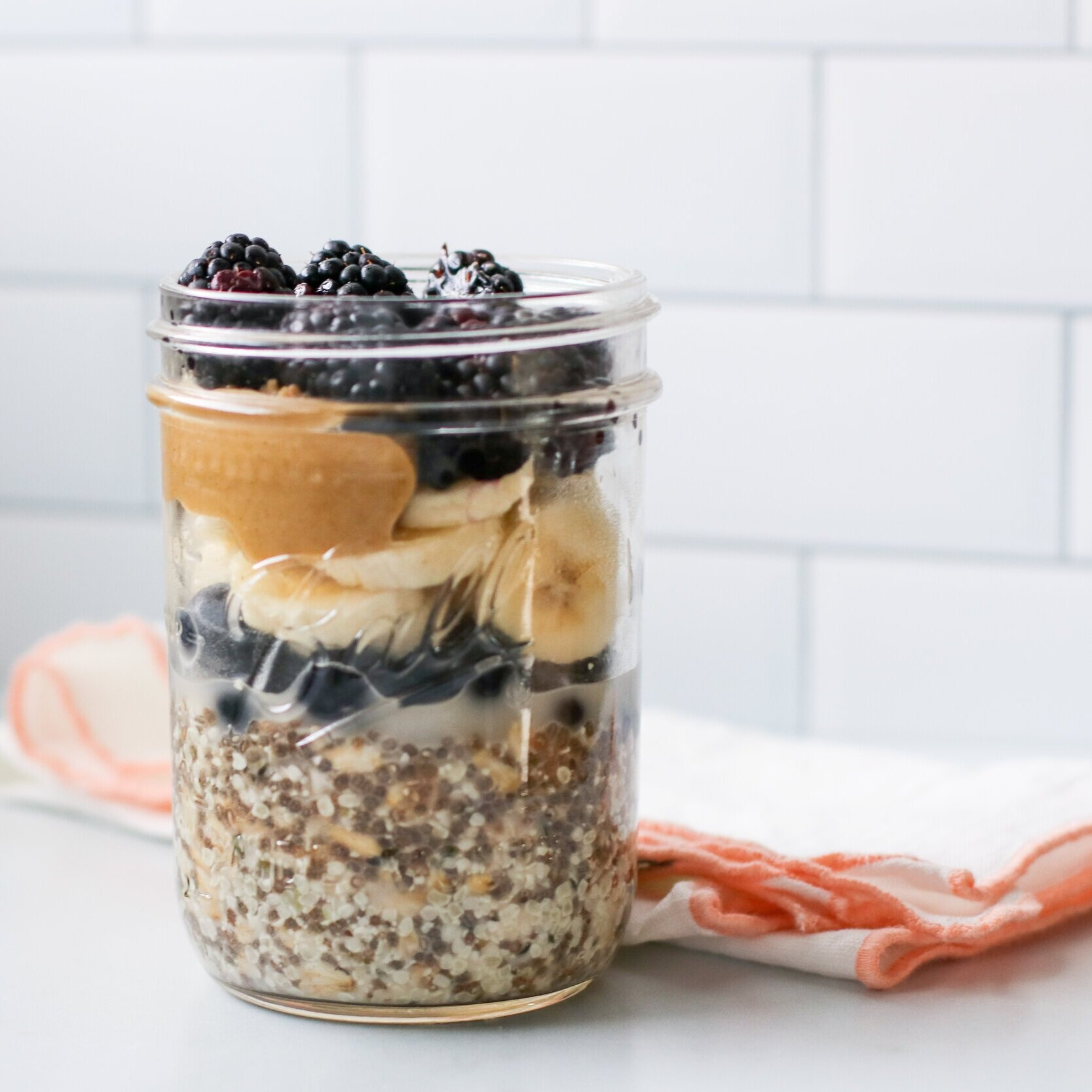 Overnight Oats - For busy, rush out the door mornings, overnight oats are my jam. Here I used chia seeds instead of the flax to mix things up.Top with fruit + nut butter in the morning and you're good to go!