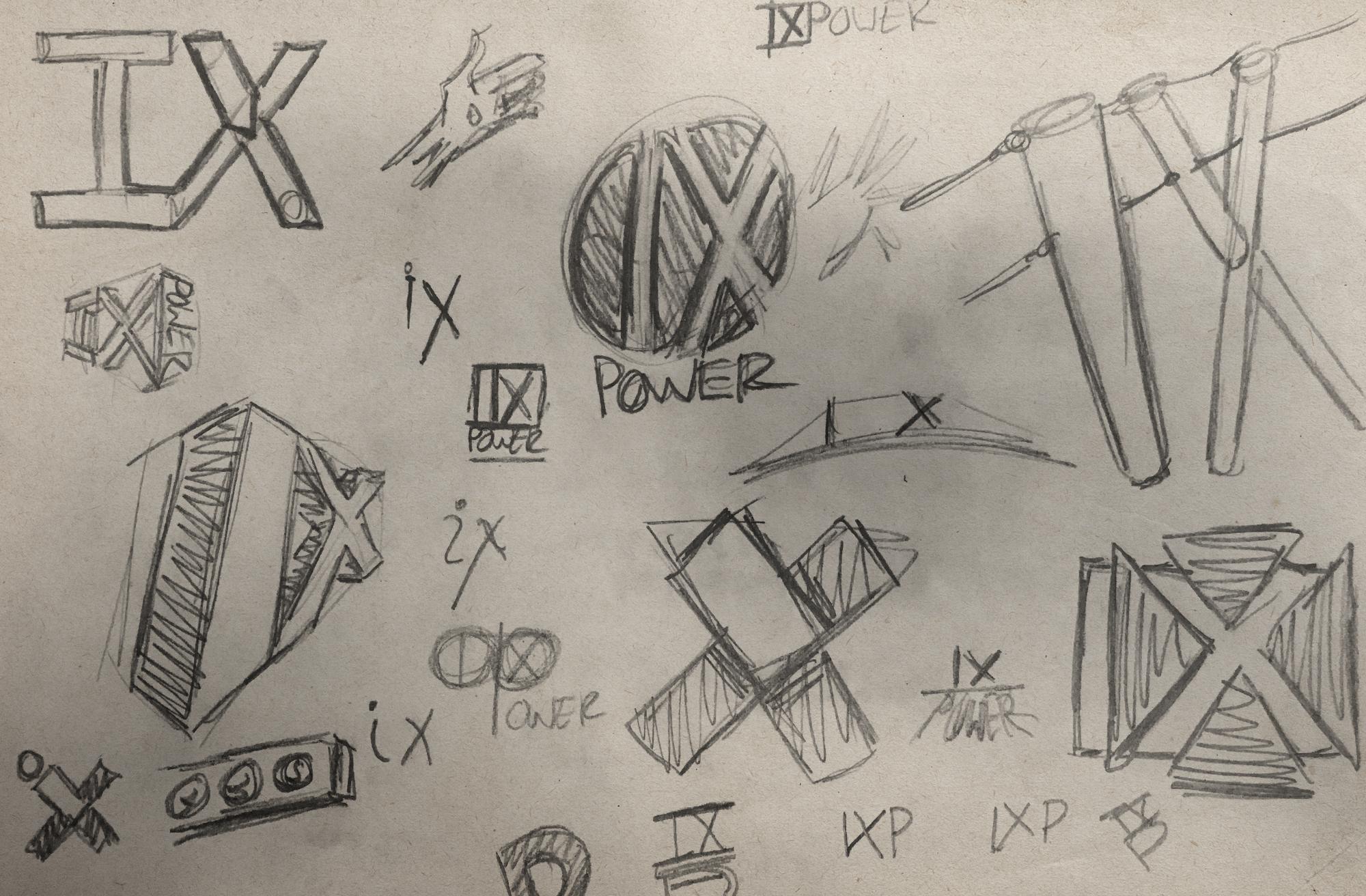 IX Power logo sketches