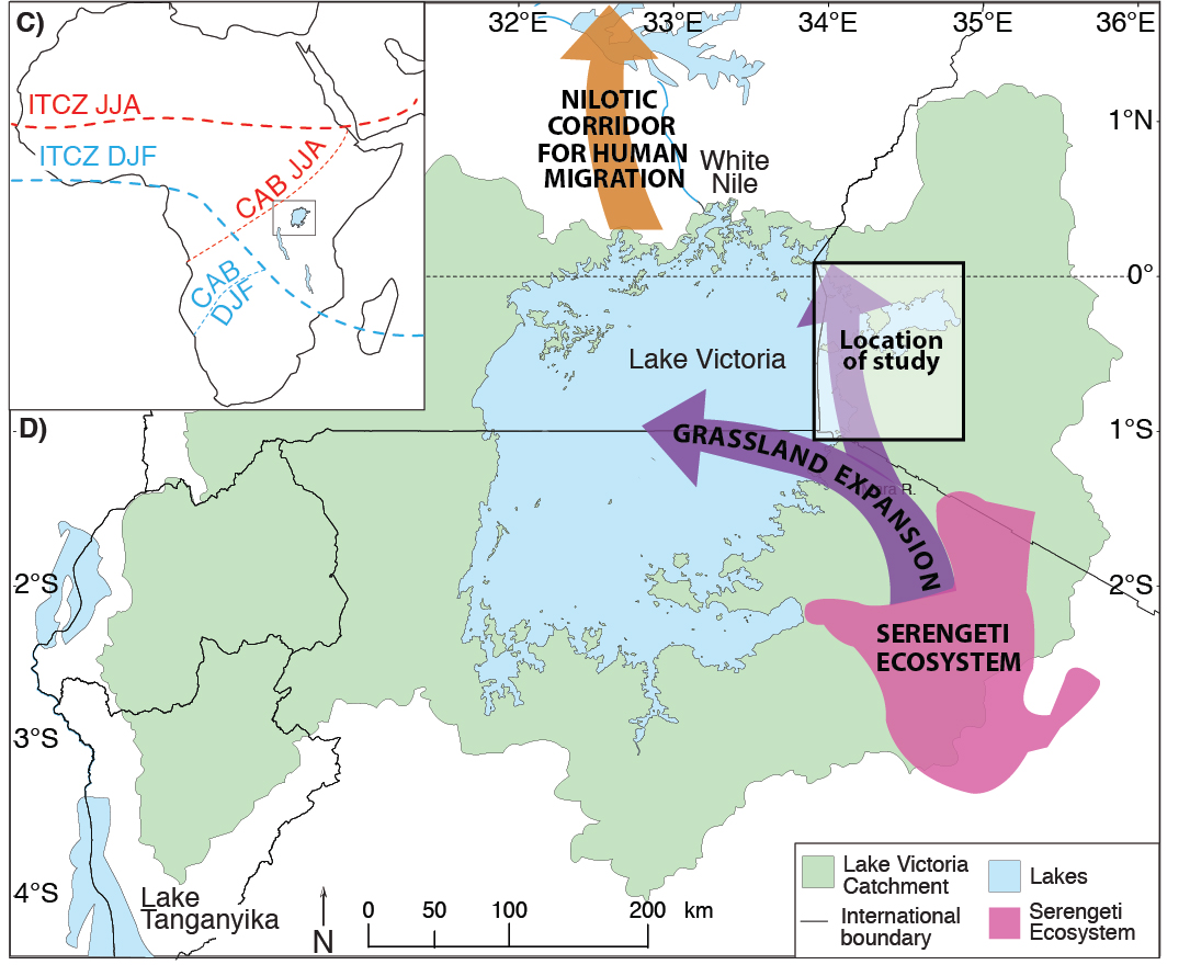 Location of the modern Serengeti Ecosystem, which evidence from paleosols suggests may have expanded during the Late Pleistocene as Lake Victoria dried up.