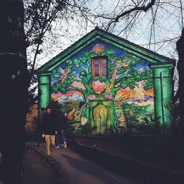 The mural that marks the entrance to Christiania