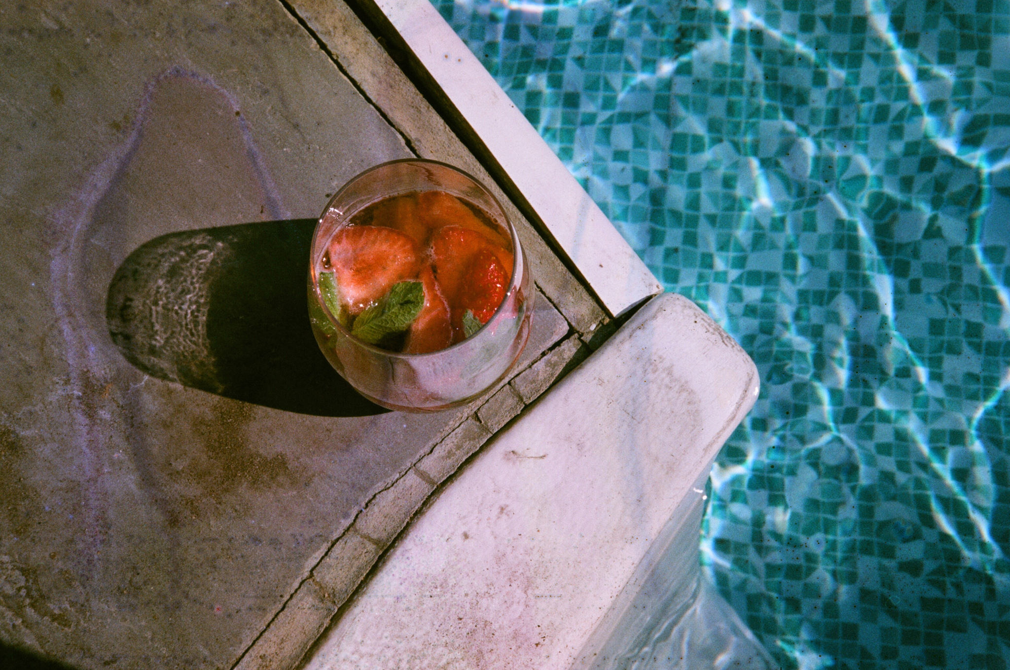 Pimms and the pool on 35mm.