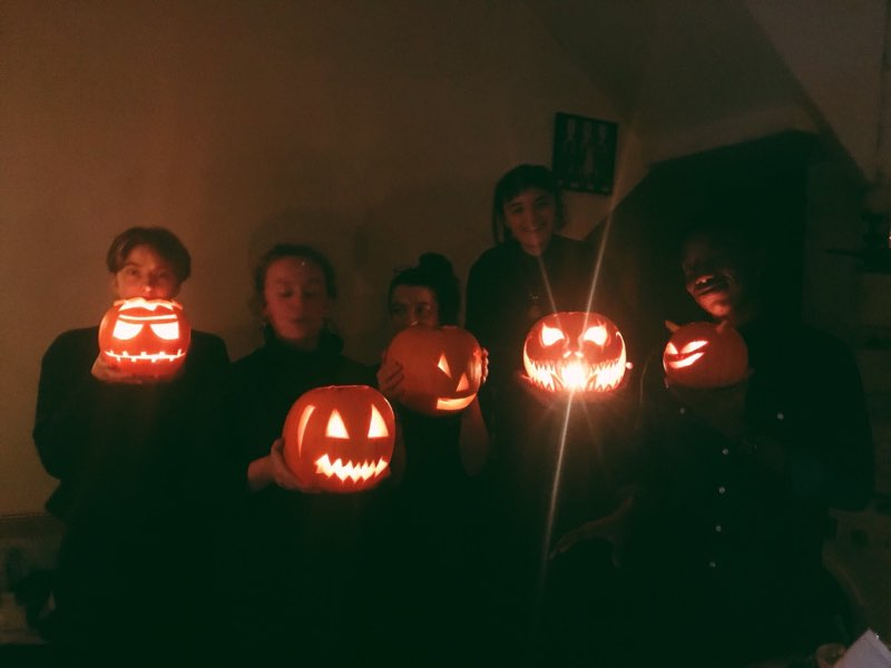 Pumpkin carving in the flat.
