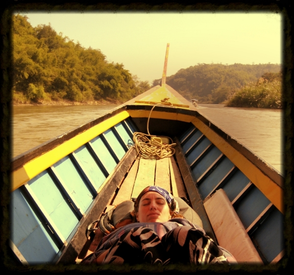 Nephyr in long tail boat, Chiang Rai
