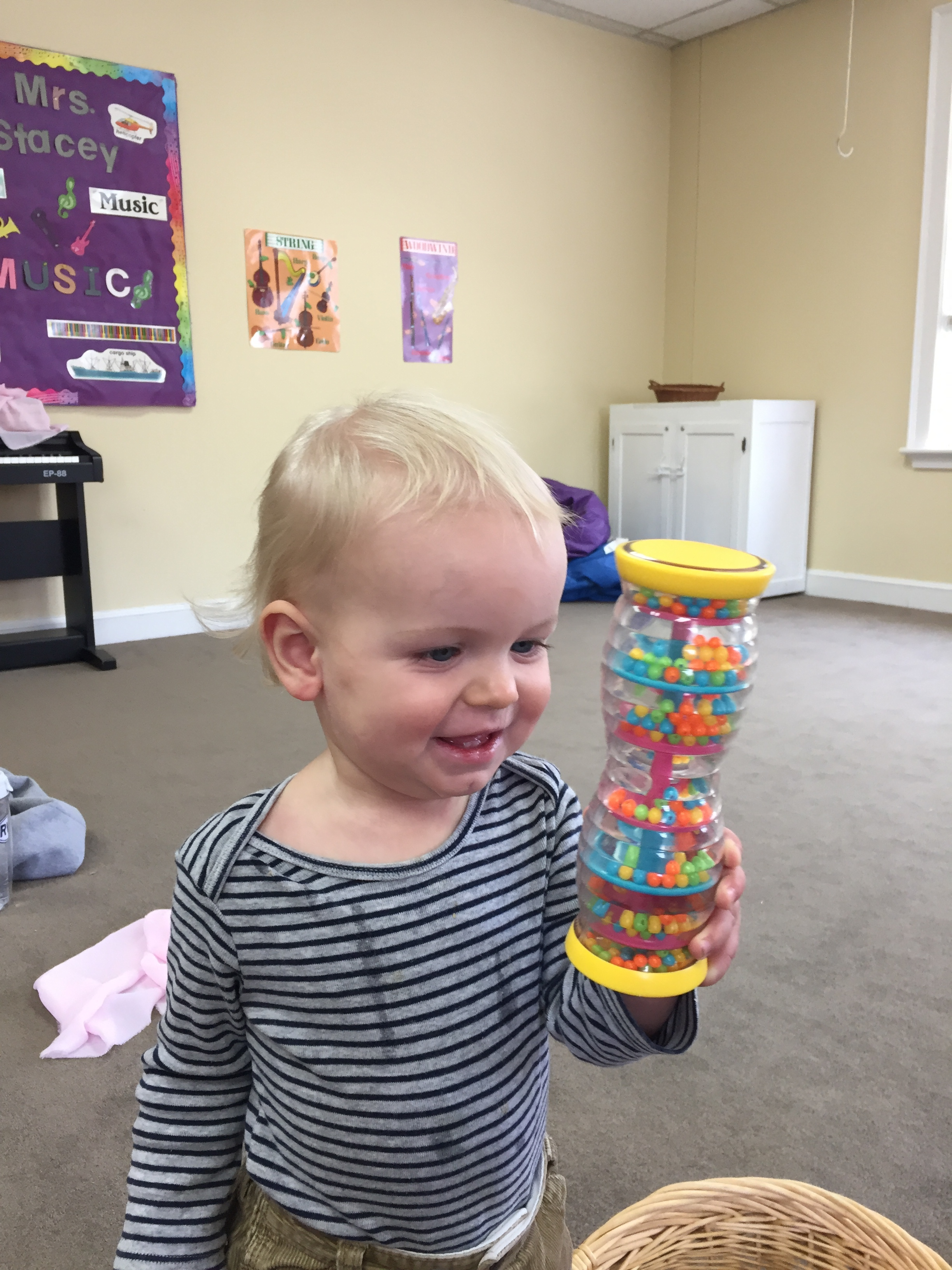 Price is enjoying the shaker and watching where the shaker beads are going.