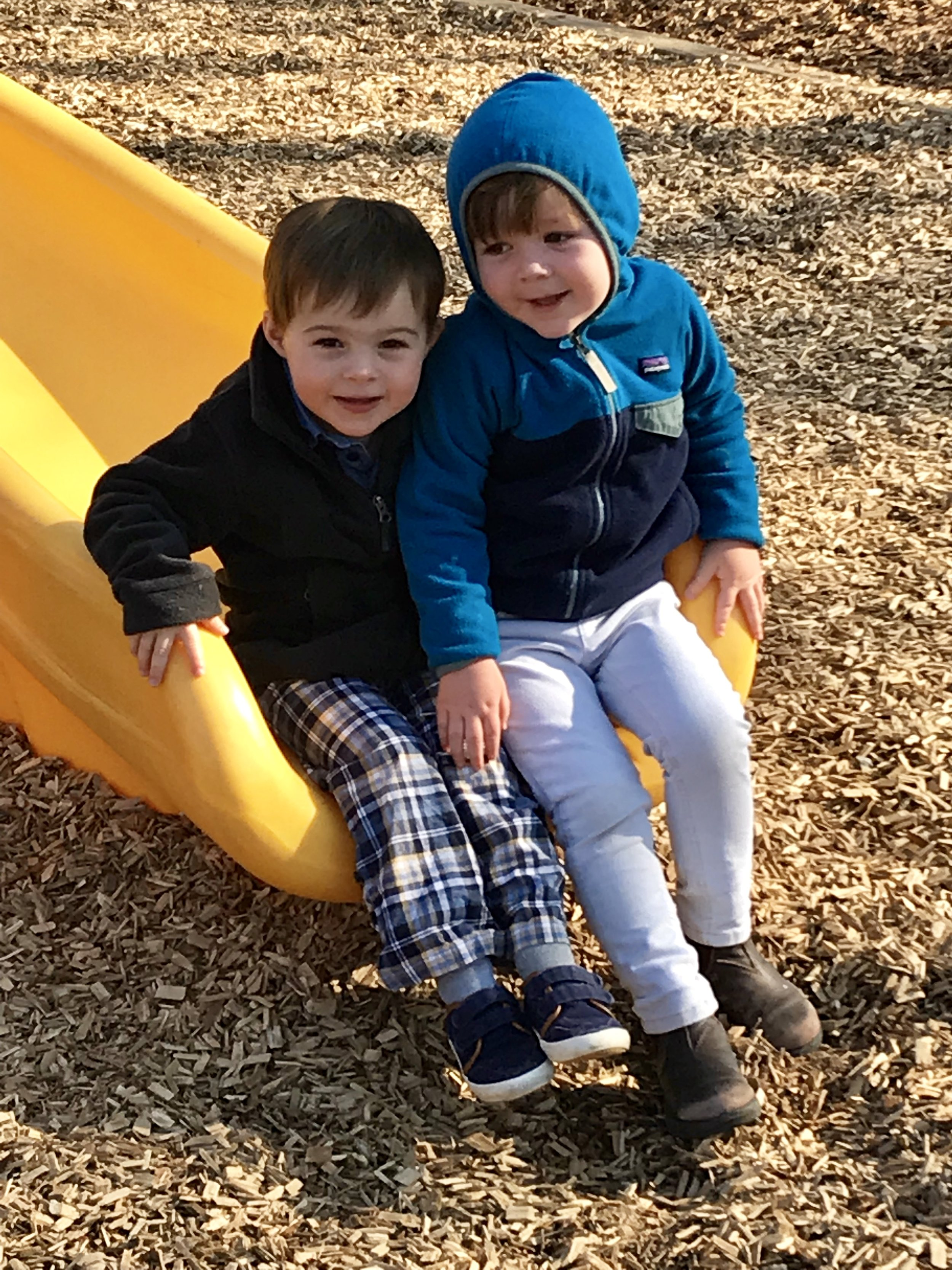 """We made our way to the big playground this week - walking on the """"yellow line"""" as a group - your kids did an amazing job navigating as a group. Our reward was a fabulous time playing """"like the big kids""""!."""