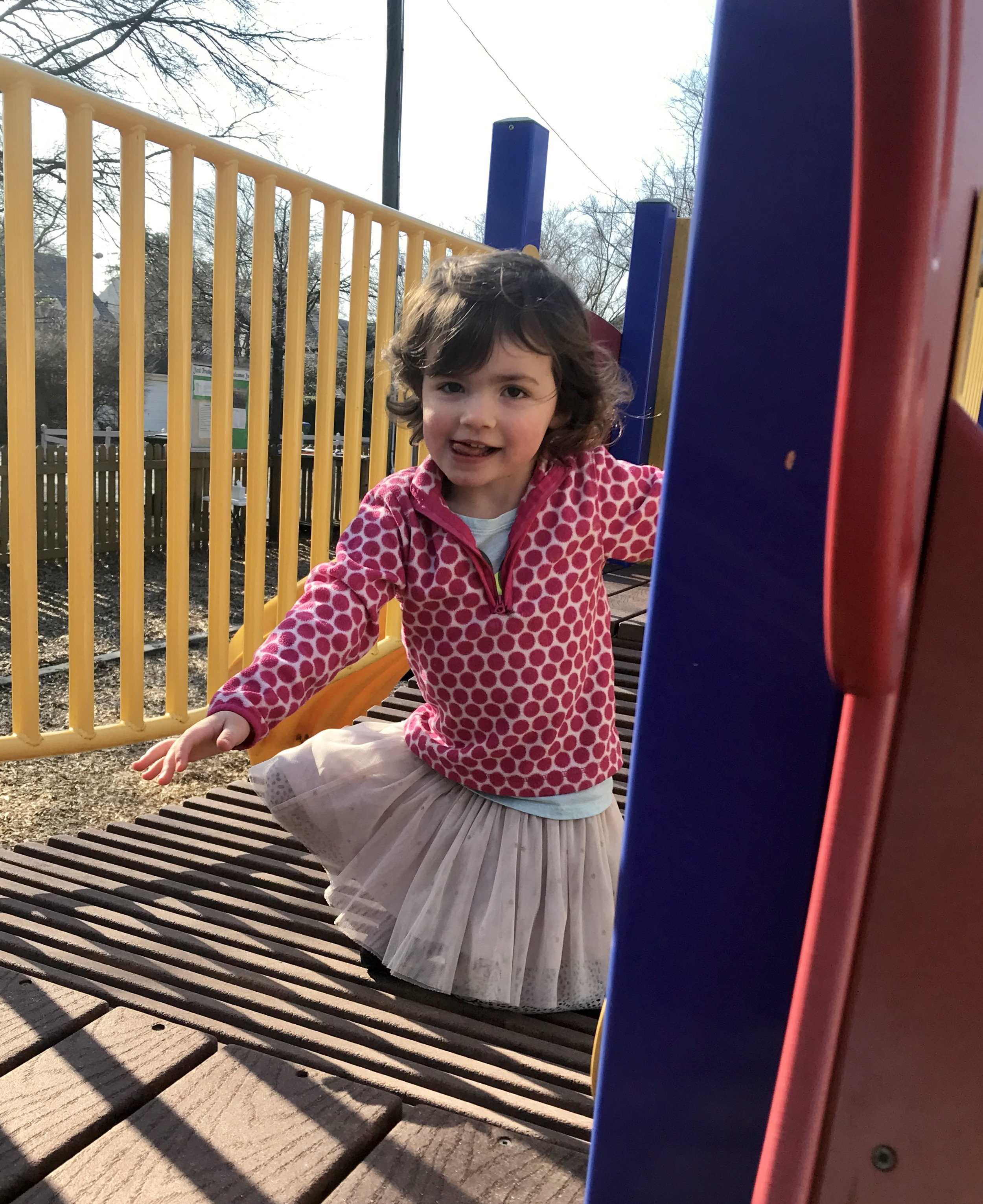 "Annabelle moving across the ""suspension bridge""."