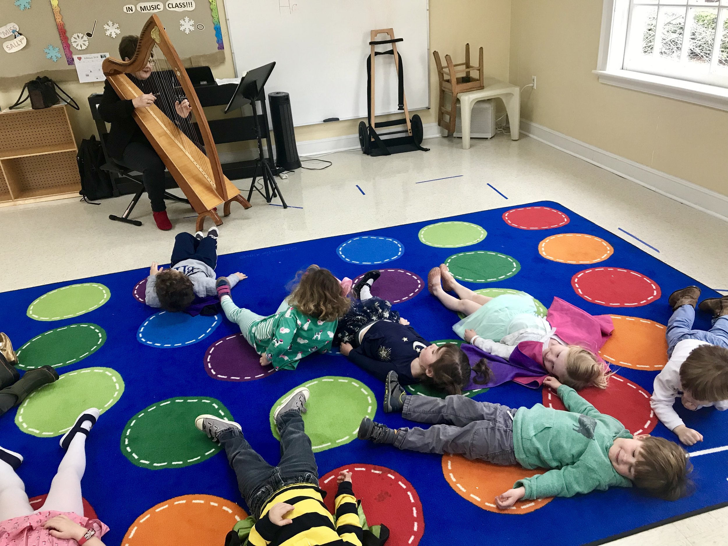 Miss Sally was on vacation this week. We had a wonderful substitute teacher, Miss Cindy, in music. She is the Music Administrator for the church; she brought along her amazing harp for the children to listen to and play! It made beautiful music, and the children found it very relaxing!