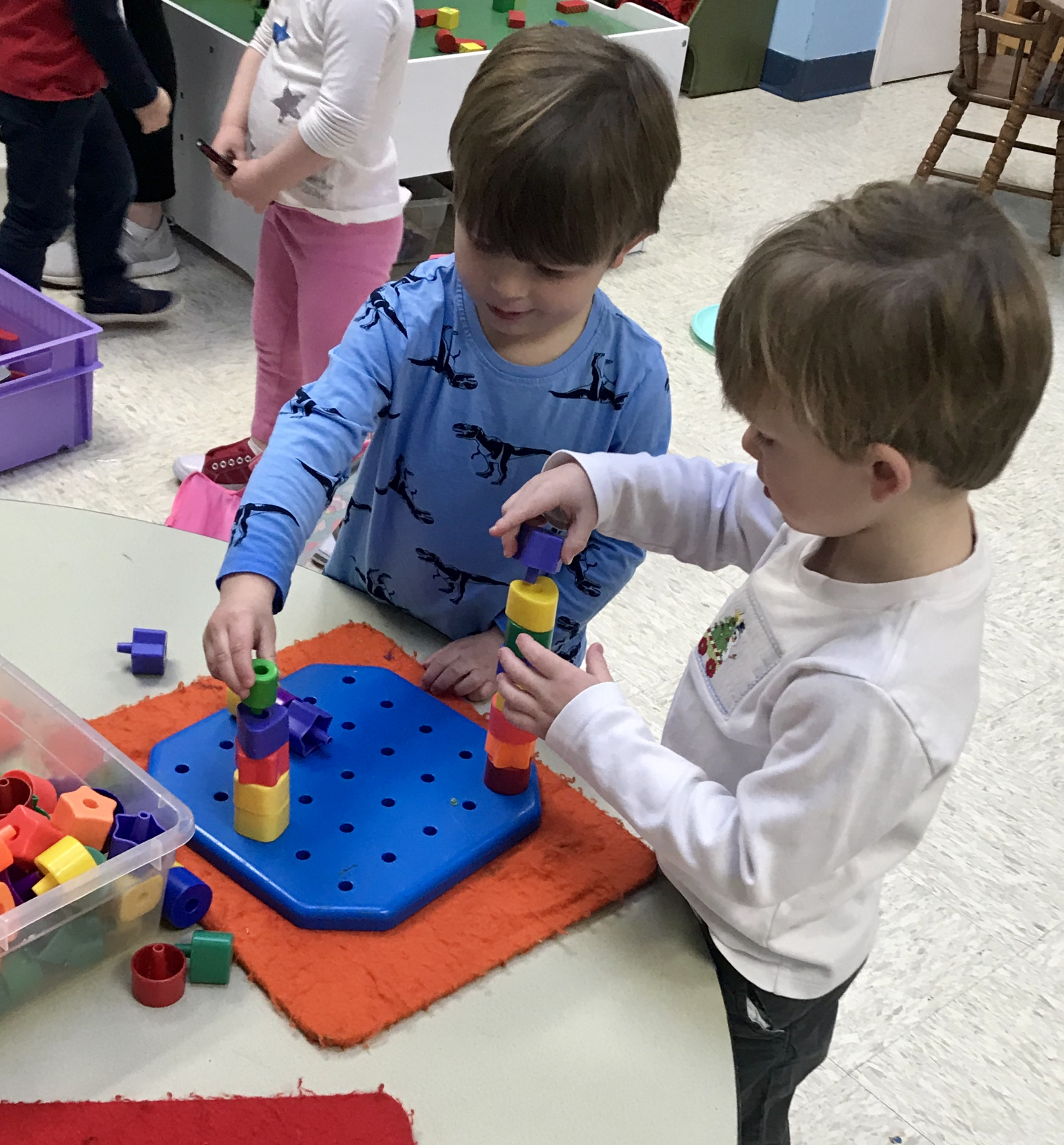 Building with stackable blocks.