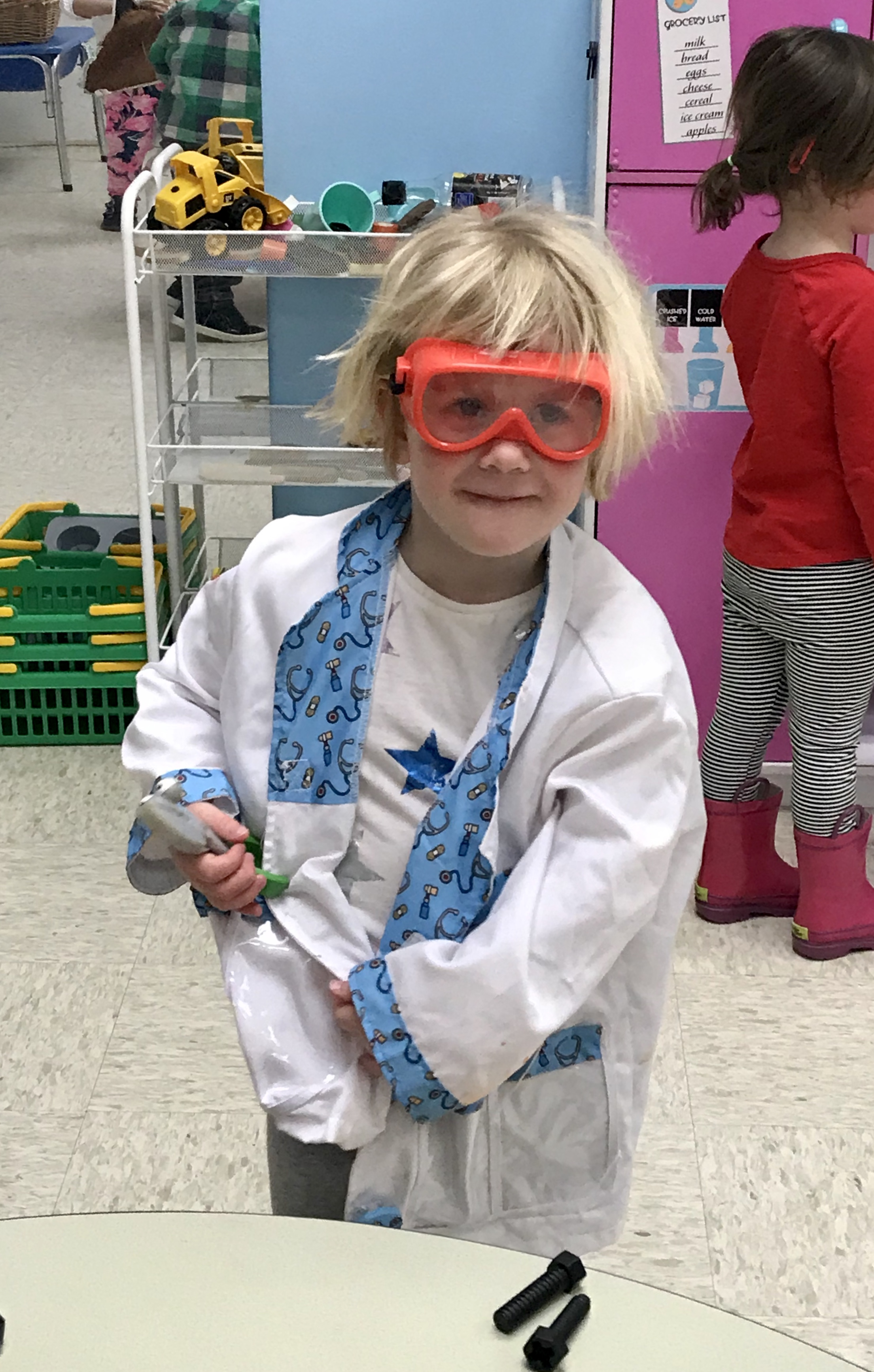 Coco working with the tools - safety glasses are important!