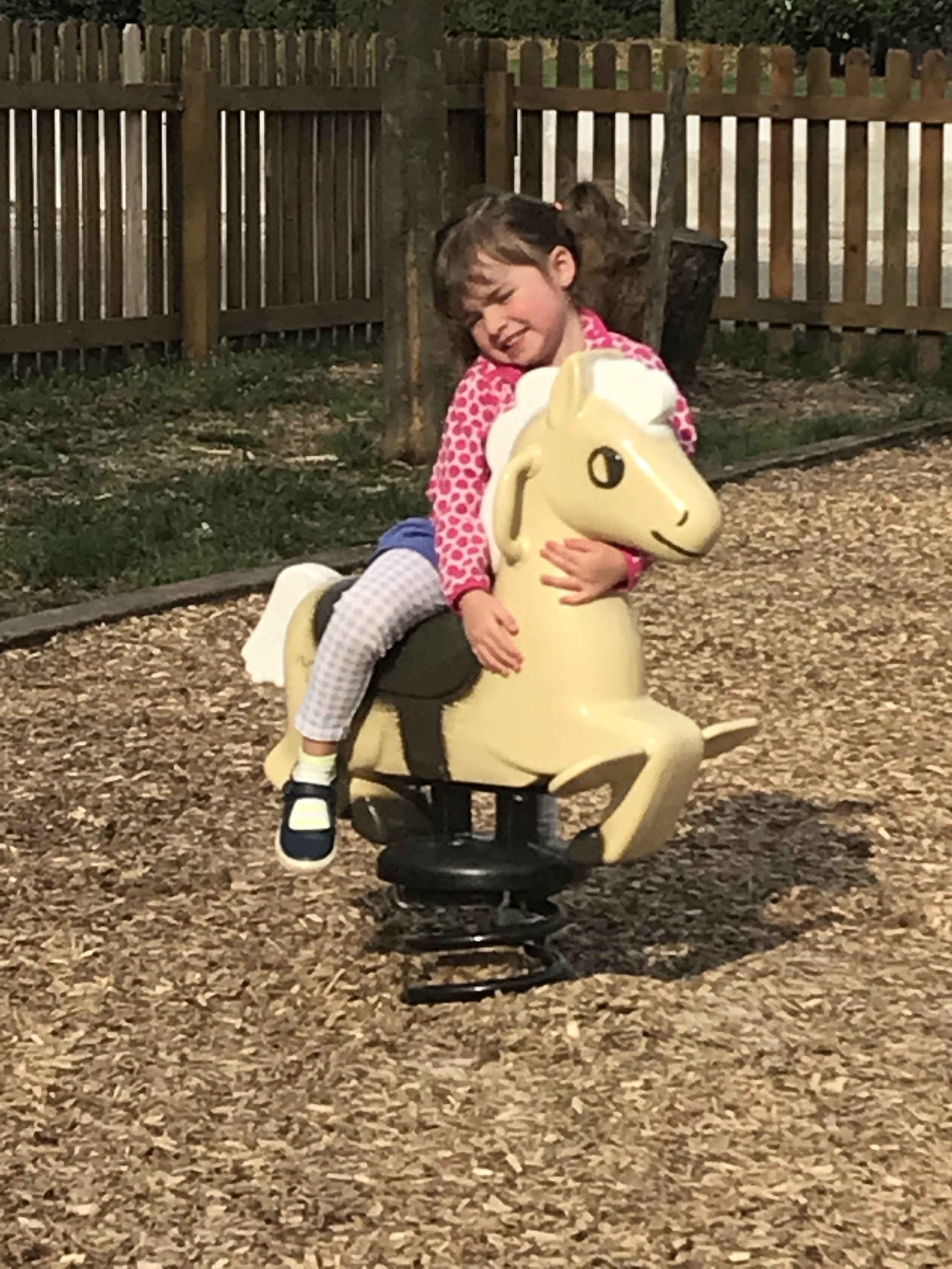 With the beautiful weather, we made a much anticipated trip to the big playground. Annabelle on her horse.
