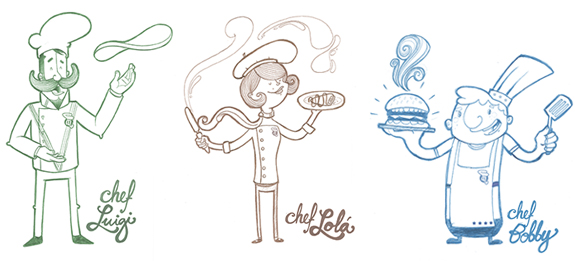 Characters   Luigi is an italian chef, everybody says he is crazy and that he is a genius making pizzas, his recipes are extremely delicious and a lot of people have gone crazy over them.   Lolá is the french chef, she is an artist preparing the most exquisite crepes in the world, each of her creations are a masterpiece, prepared with madness, passion and dedication.   Bobby is a master creating hamburgers. For him, they are sculptures that become alive in his kitchen table, he is very friendly, a little crazy and he is always smiling. He is devoted to his job and is always looking for the new hamburger formula.