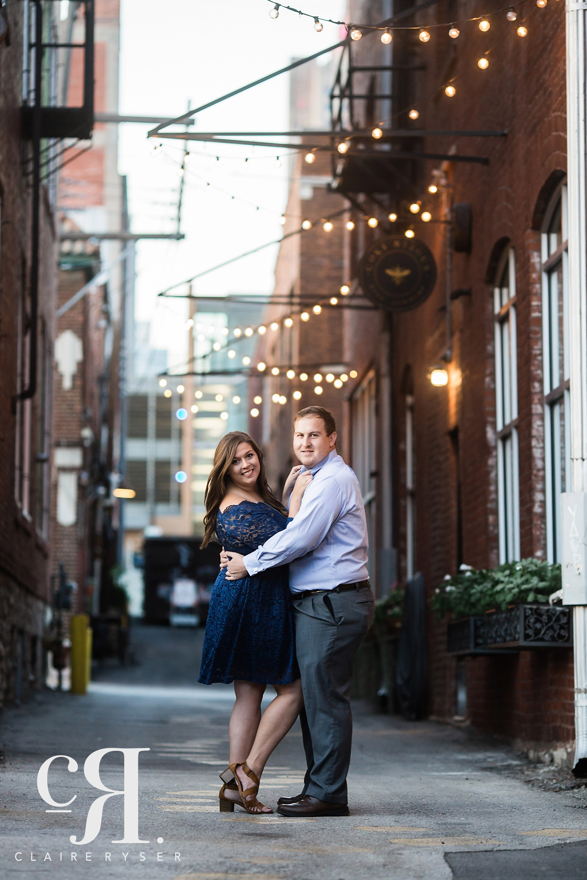 Alley Engagement Twinkle Lights