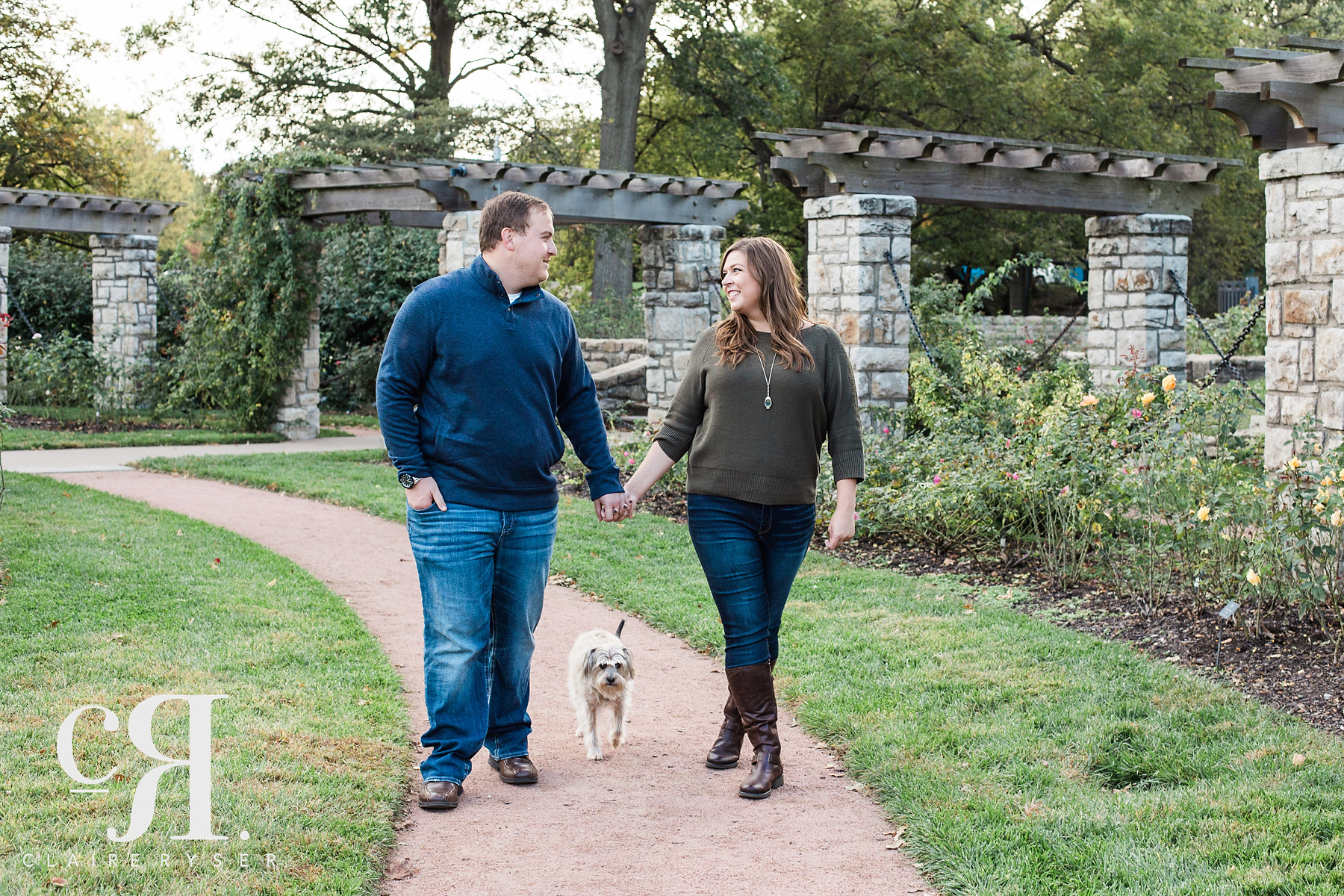 Walking Engagement Photos with Dog