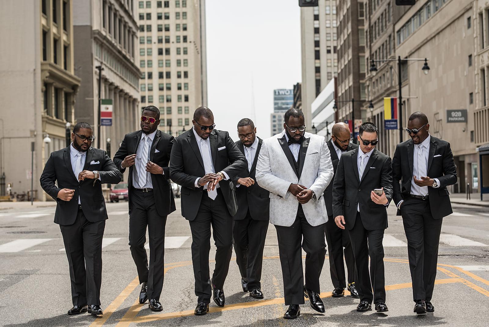 Groom & Groomsmen in Downtown Kansas City