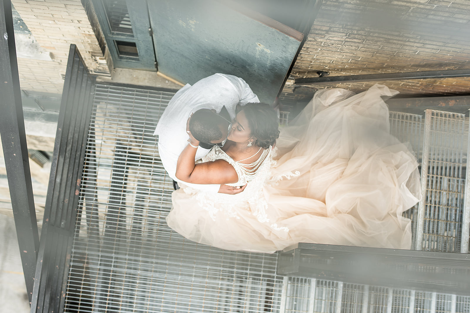 Bride & Groom In Staircase