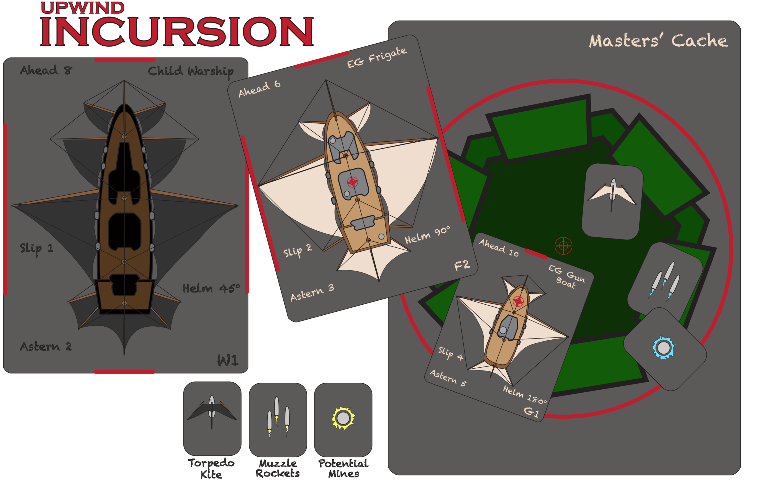 Mock-ups of the tokens we are using for playtesting. The final counters will be much prettier.